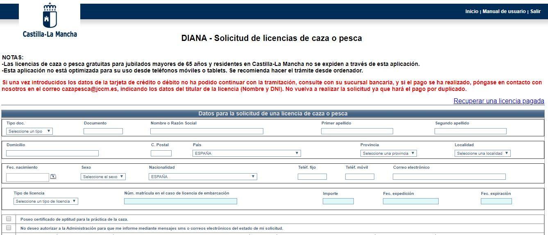 diana pagina principal sistema para obtener la licencia de pesca en castilla la mancha