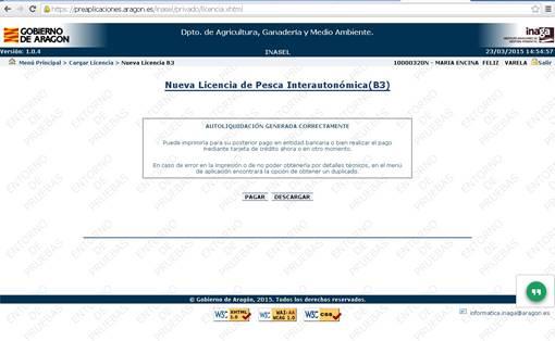 pantalla de pagar o descargar del sistema telemático de licencia de pesca de aragón