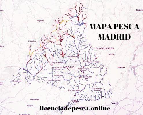 mapa donde pescar con licencia de pesca de madrid
