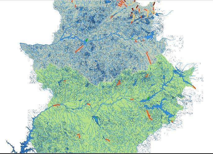 mapa de los sitios de pesca en Extremadura