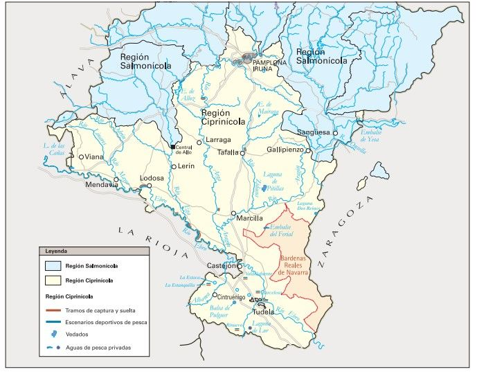 mapa licencia de pesca de navarra