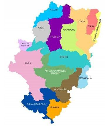 mapa por cuencas de aragon
