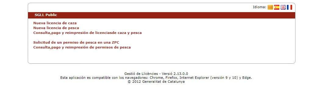 sistema telemático para solicita la licencia de pesca de cataluña