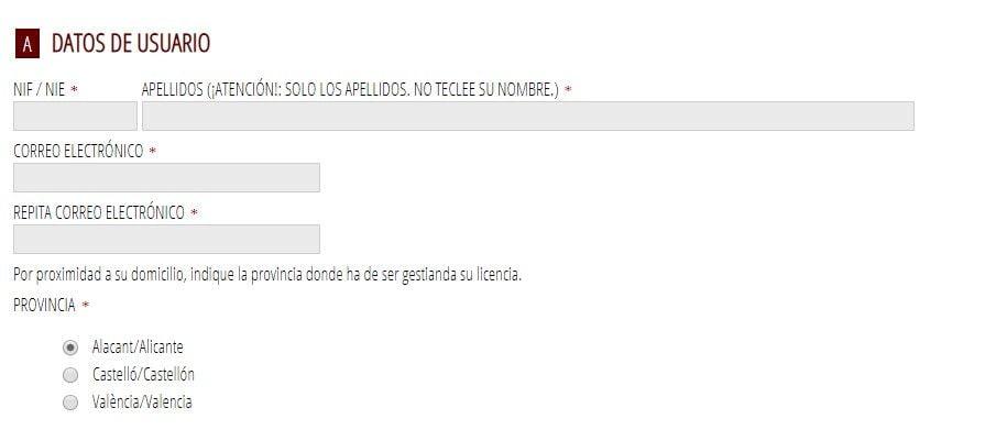 pantalla del sistema telematico de petición de licencia de pesca de Valencia