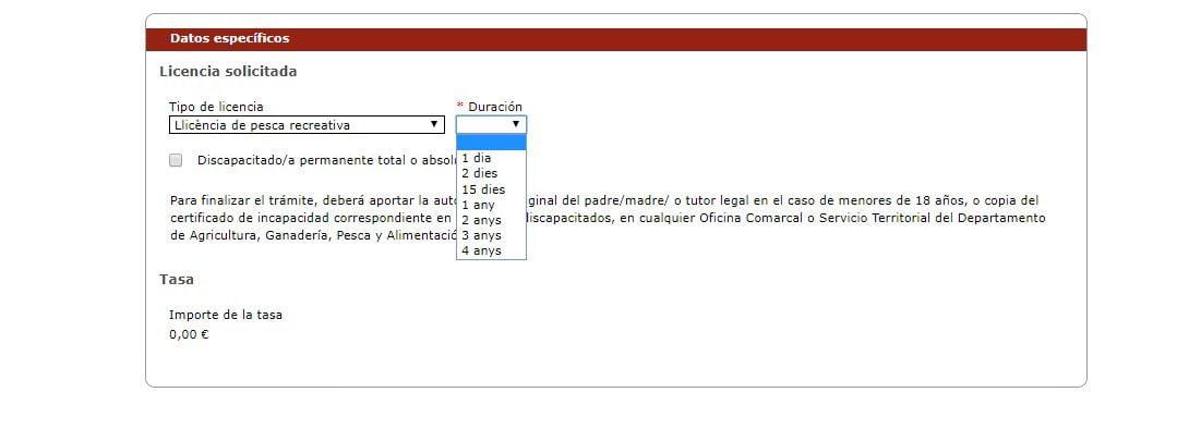 solicitud telematica de nueva licencia de pesca de cataluña