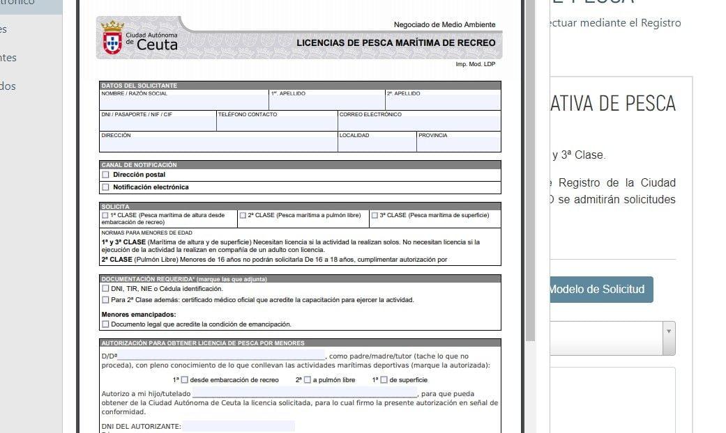 cuarta pantalla del sistema telematico de petición de licencia de pesca en ceuta