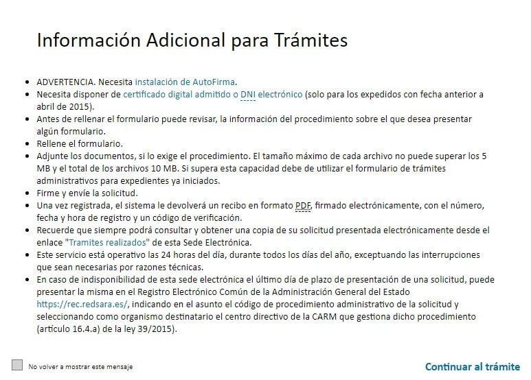 pantalla de inicio del sistema telematico de solicitud de licencia de pesca de Murcia de tipo fluvial