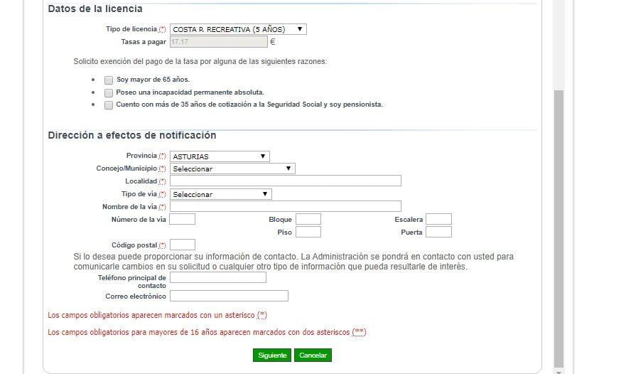 pantalla segunda de la aplicación telematica para sacar la licencia marítima