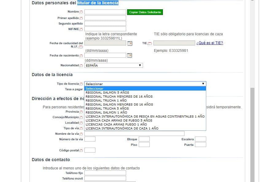 segunda pantalla licencia de pesca fluvial de asturias