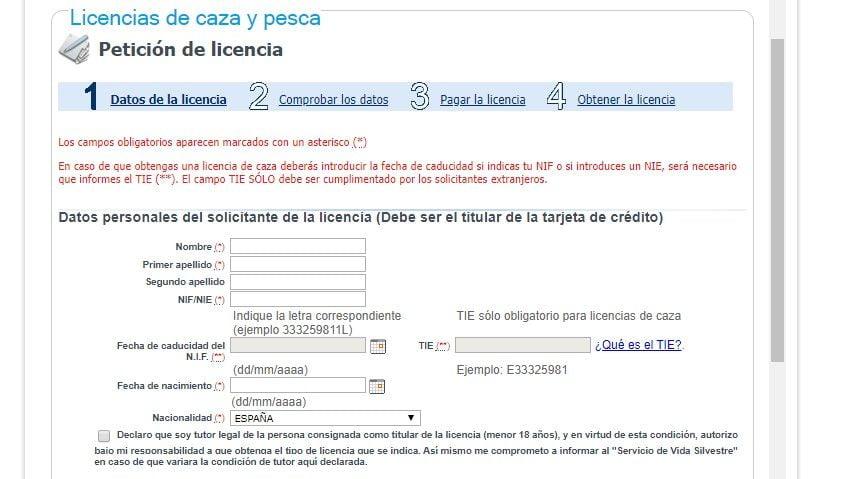 pantalla uno telematica para solicitar licencia de pesca de Asturias