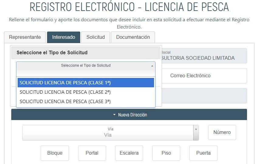 primera pantalla del sistema telematico de petición de licencia de pesca en ceuta