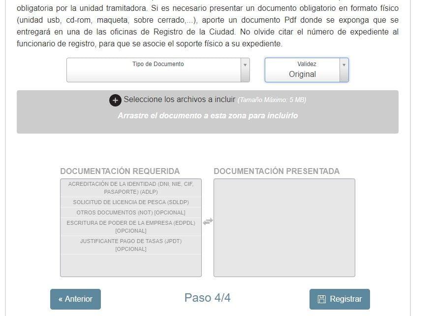quinta pantalla del sistema telematico de petición de licencia de pesca en ceuta