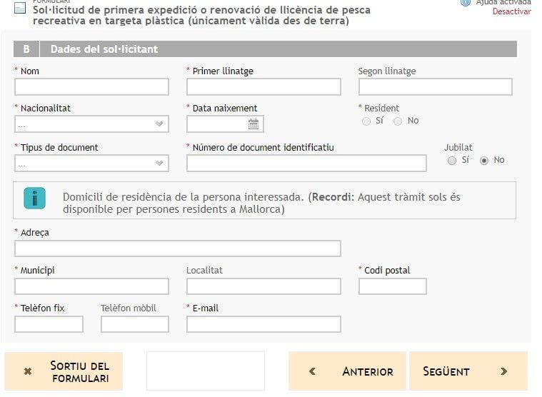 datos adjuntos sistema de solicitud de licencia de pesca de Baleares modalidad online