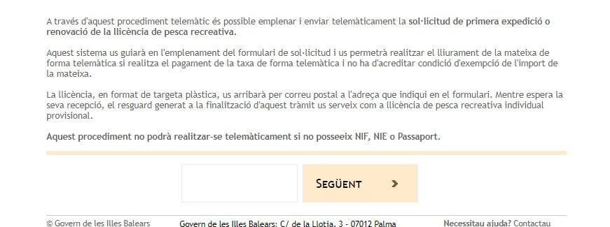 sistema de solicitud de licencia de pesca de Baleares modalidad online