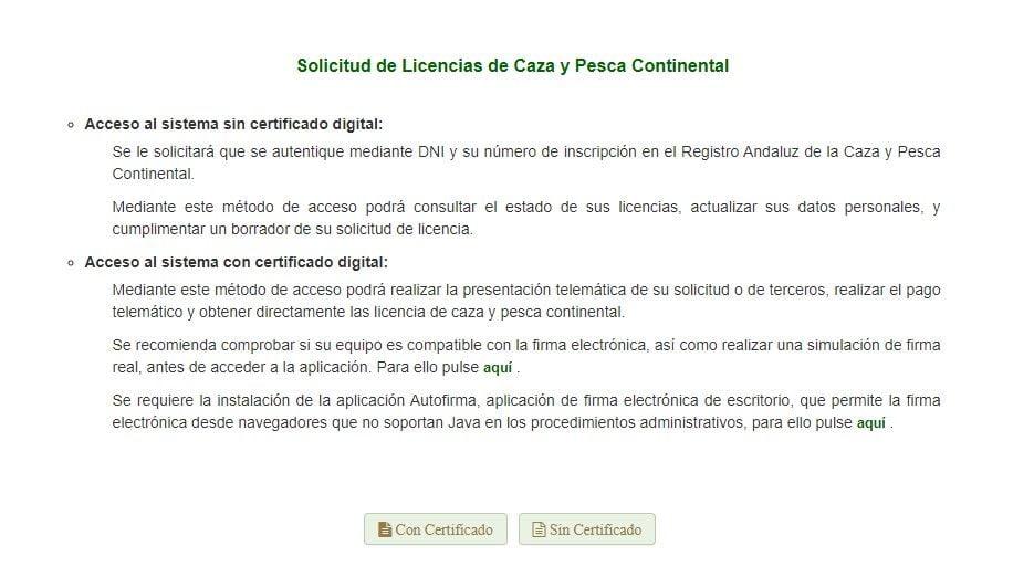 acceso al tramite de licencia de pesca en andalucía de tipo continental